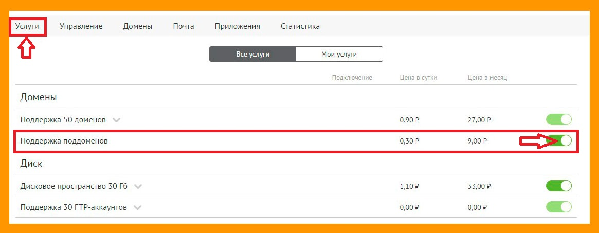 Подключение услуги поддержки поддоменов на jino.ru