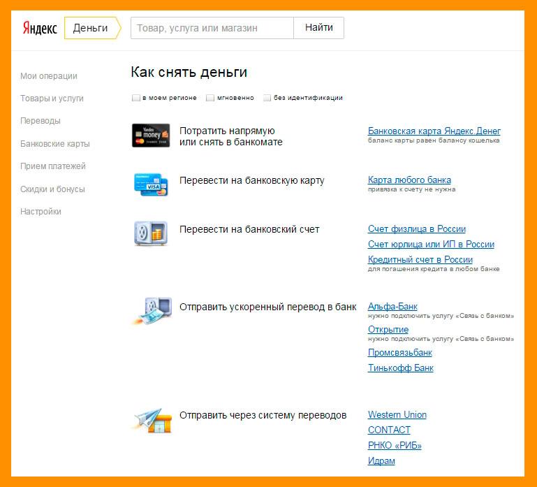 Способы снятия денег Яндекс