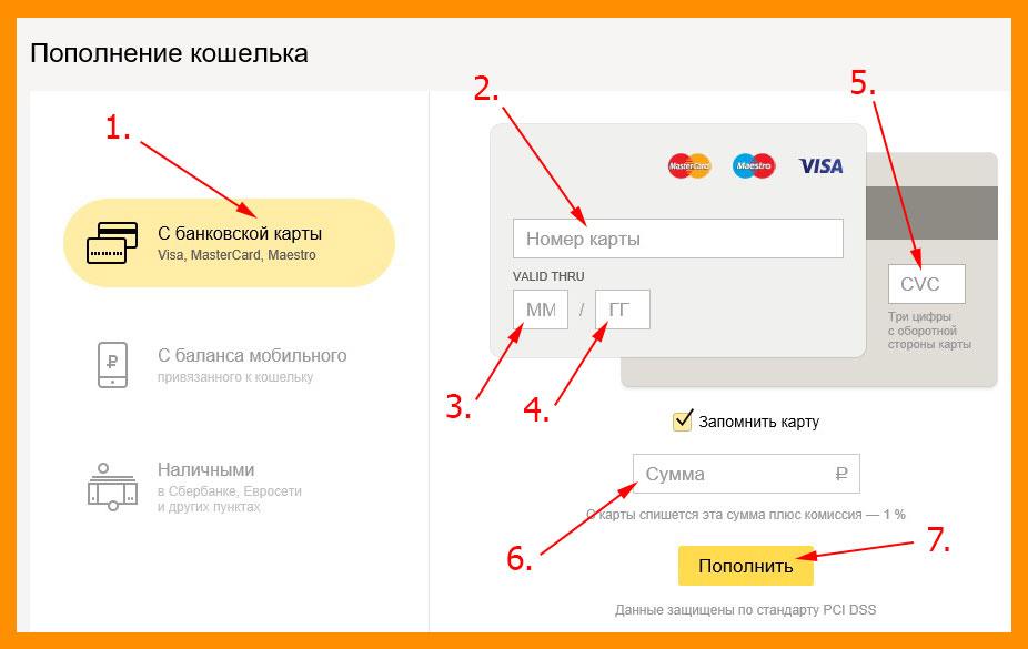 Пополняем счет прямо из самого Яндекс кошелька